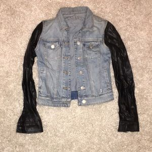 Talula Jean jacket with faux leather sleeves